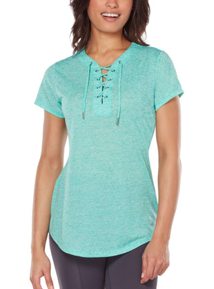 Free Country Women's Free 2 Sparkle Lace Up Top - Green Nectar - S