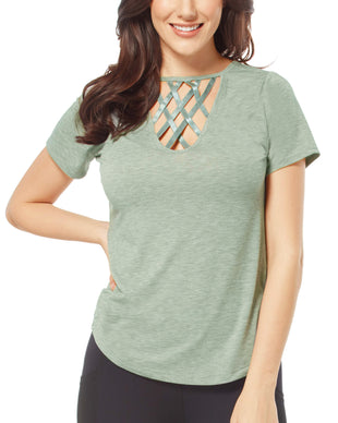 Free Country Women's Free2B Lattice Top - Seacrest - S