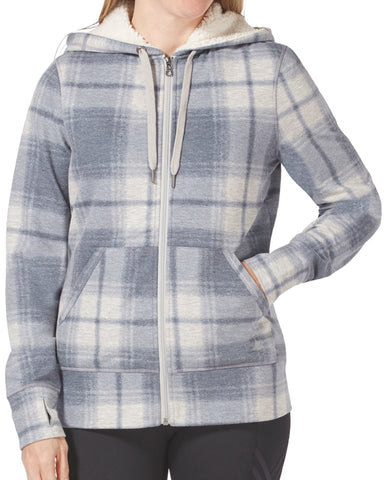 Free Country Women's Free2B Luxe+ Zip Hoodie - Grey Plaid - S
