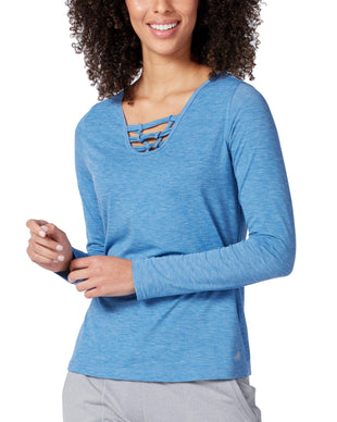 Free Country Women's Free2B Macrame Long Sleeve Top - Electric Azure - S