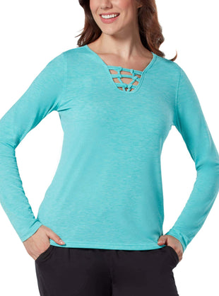 Free Country Women's Free2B Macrame Long Sleeve Top - Spearmint - S