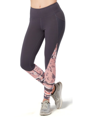 Free Country Women's Free2B Sheer Floral Ankle Tight - Charcoal - S