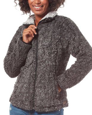 Free Country Women's Frosty Pile Full Zip Fleece Jacket - Black - S