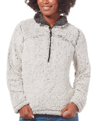 Free Country Women's Frosty Pile 1/4 Zip Fleece Pullover - White - S