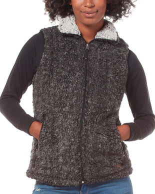 Free Country Women's Frosty Pile Fleece Vest - Black - S
