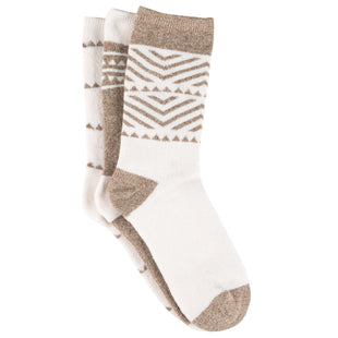 Free Country Women's Geo Basic Full Cushion Crew Socks - Ivory - 6-10