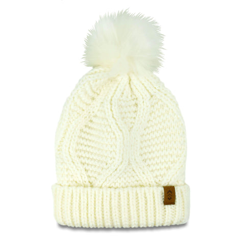 Free Country Women's Icelandic Cable Knit Beanie with Faux Fur Pom - Cream - O/S