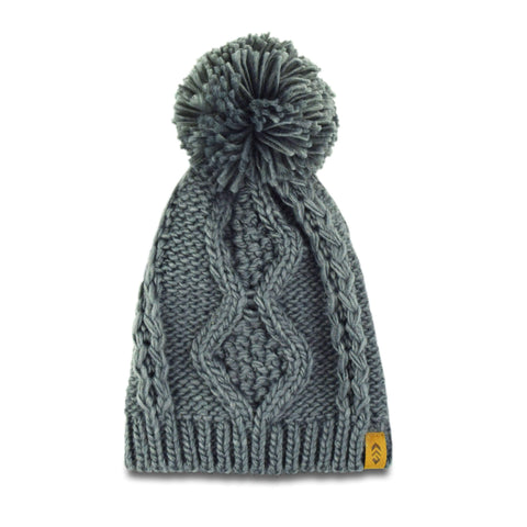 Free Country Women's Icelandic Cable Knit Beanie with Yarn Pom - Cement - O/S