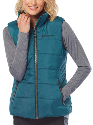 Free Country Women's Linden Cloud Lite Quilted Vest - Teal - S
