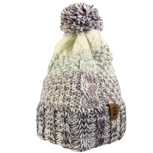 Free Country Women's Marled Cable Knit Beanie with Yarn Pom - Bone - O/S