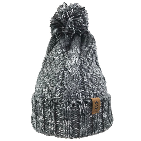 Free Country Women's Marled Cable Knit Beanie with Yarn Pom - Cement - O/S