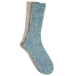 Free Country Women's Marled Polyblend Crew Socks - Turquoise - 6-10