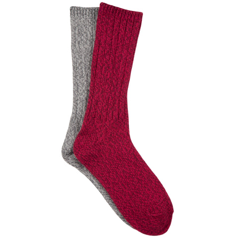 Free Country Women's Marled Polyblend Crew Socks - Wine - 6-10