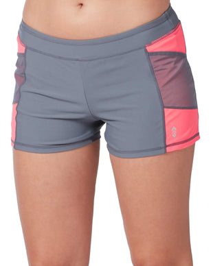 Free Country Women's Mesh Detail Swim Short - Cloud Grey-Coral - S