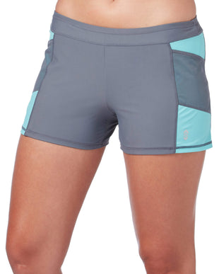 Free Country Women's Mesh Detail Swim Short - Cloud Grey-Pale Aruba - S