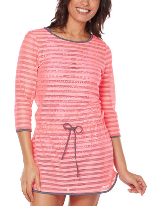Free Country Women's Mesh 3/4 Sleeve Cover Up - Pink Blush - S