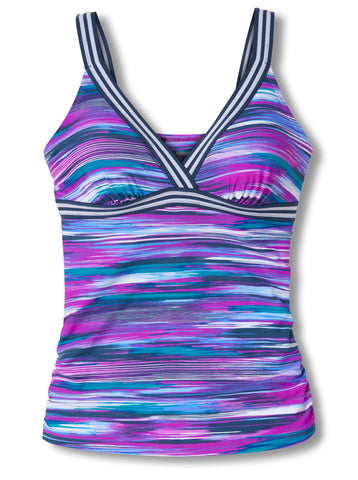 Free Country Women's Oasis Track Strap Sporty Back Tankini Top - Berrylicious - S