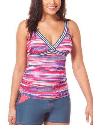 Free Country Women's Oasis Track Strap Sporty Back Tankini Top - Ruby - S