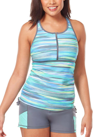 Free Country Women's Oasis Zip Front Racerback Tankini Top - Spearmint - S