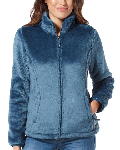 Free Country Women's Outlier Heather Butter Pile Fleece Jacket - Agate Blue - S