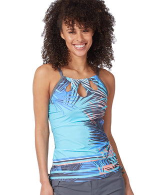 Free Country Women's Palm Island Keyhole Halter Tankini Top - Blue Iris - S