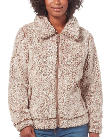 Free Country Women's Peter Pan Frosty Pile Fleece Jacket - Soft Brown - S
