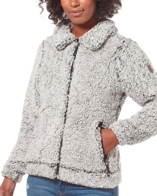Free Country Women's Peter Pan Frosty Pile Fleece Jacket - White - S