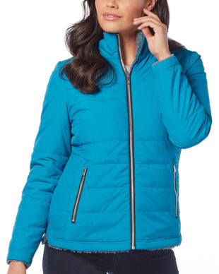 Free Country Women's Petite Cascade Quilted Reversible Jacket - Teal - PS