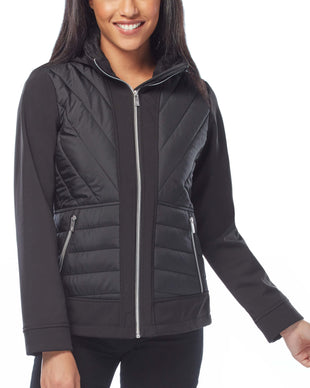 Free Country Women's Petite Fortified Hybrid Softshell Jacket - Black - PS