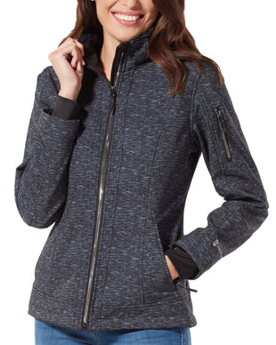 Free Country Women's Petite Freeform Super Softshell® Jacket - Striation Black - PS