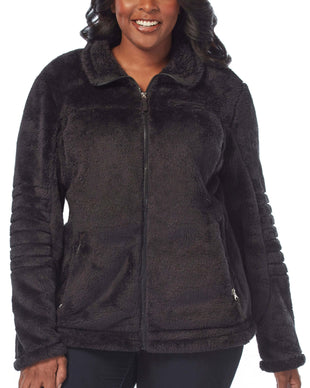 Free Country Women's Plus Size Alpine Butter Pile Jacket - Black - 1X