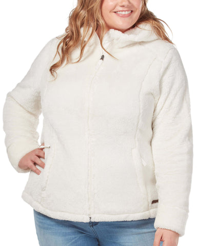 Free Country Women's Plus Size Alpine Plush Pile Fleece Jacket - Cream - 1X
