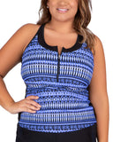 Women's Plus Size Beach Batik Mesh Zip-Up Racerback Tankini Top