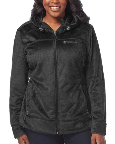 Free Country Women's Plus Size Bloom Butter Pile Jacket - Black - 1X