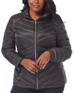 Free Country Women's Plus Size Bluster Chalet Cire Down Quilted Jacket - Black - 1X