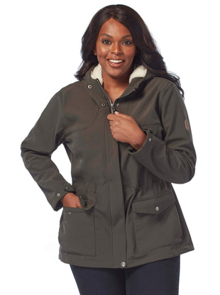 Free Country Women's Plus Size Bolster Super Softshell Jacket - Vintage Olive - 1X