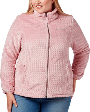 Free Country Women's Plus Size Braided Butter Pile® Fleece Jacket - Rose - 1X