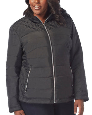 Free Country Women's Plus Size Cascade Quilted Reversible Jacket - Black - 1X