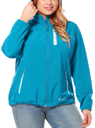 Free Country Women's Plus Size Ceaseless X2O Rain Jacket - Antique Teal - 1X