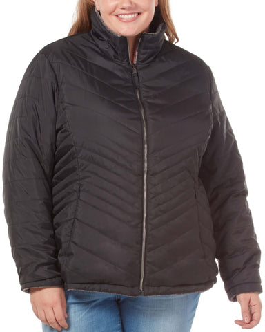 Free Country Women's Plus Size Cloud Reversible Puffer Jacket - Black - 1X