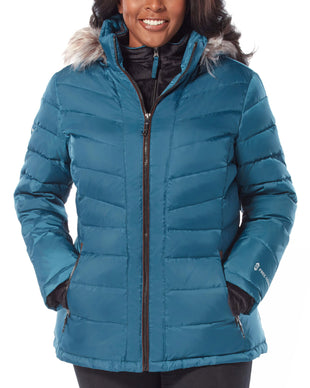 Free Country Women's Plus Size Conquer Cloud Lite Down Jacket - Teal - 1X
