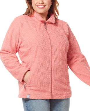 Free Country Women's Plus Size Diamond Sculpted Fleece Jacket - Dusty Coral - 1X