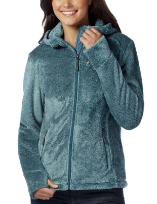Free Country Women's Plus Size Elegance Heather Butter Pile Fleece Jacket - Teal - 1X