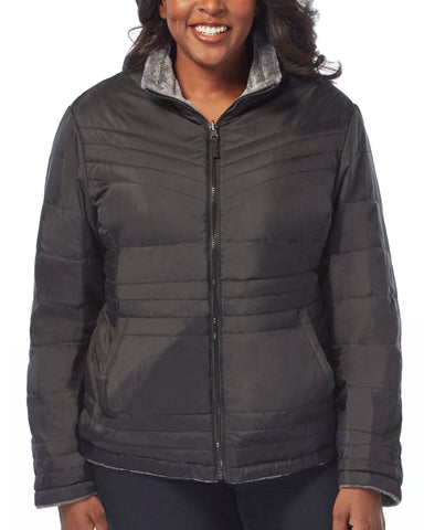 Free Country Women's Plus Size Evergreen Cloud Lite Reversible Jacket - Black - 1X