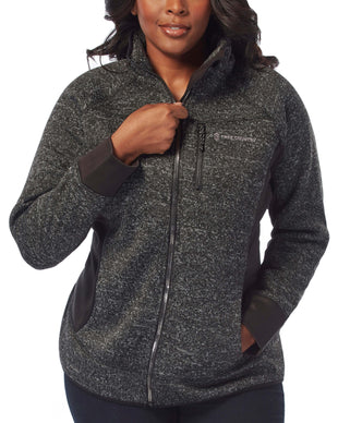 Free Country Women's Plus Size Fawn Mountain Fleece Combo Jacket - Black - 1X