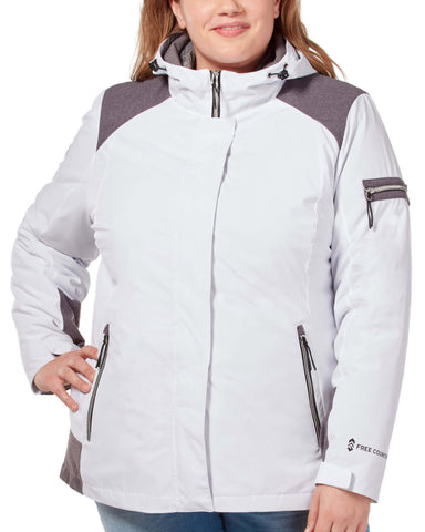 Free Country Women's Plus Size Fearless 3-in-1 Systems Jacket - White - 1X