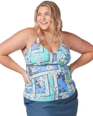 Free Country Women's Plus Size Floral Sarong Triple Strap Tankini Top - Cloud Grey Multi - 1X