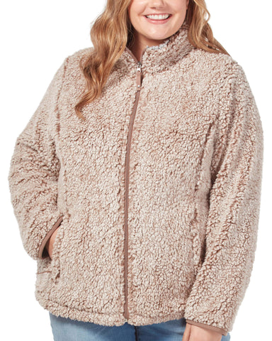 Free Country Women's Plus Size Frosty Pile Full Zip Fleece Jacket - Soft Brown - 1X