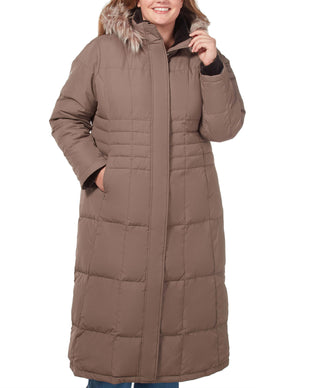 Free Country Women's Plus Size Full Length Splendor Down Jacket - Fossil - 1X
