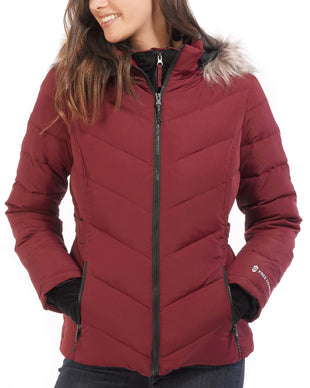 Free Country Women's Plus Size Gale Power Down Jacket - Deep Cranberry - 1X